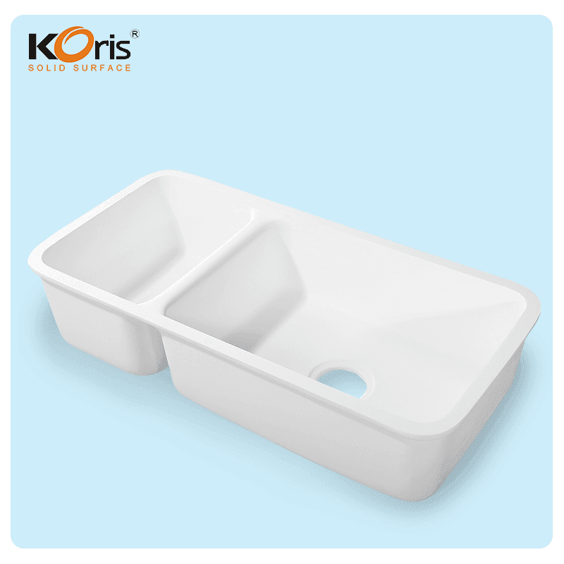 Acrylic Apron Double Bowl Kitchen Sink KS001