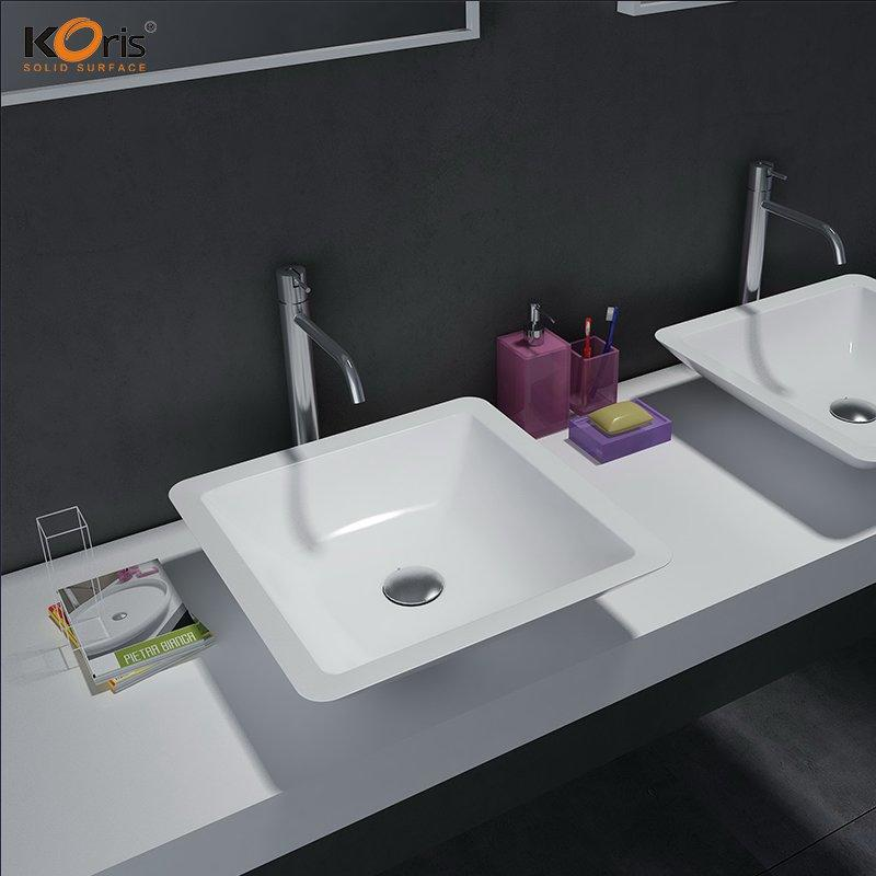 Acrylic Solid Surface Integrated Bathroom Sink And Countertop WB2058