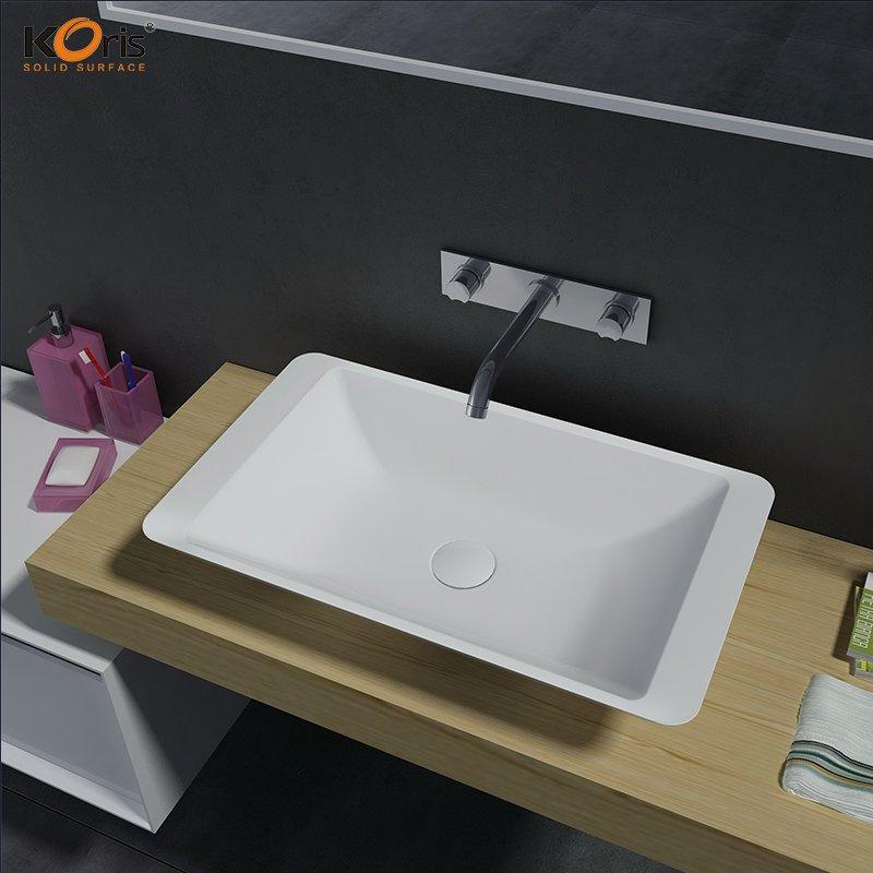 Rectangular Design White Ceramic Single Hole Sink WB2059